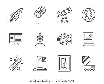 Equipment for scientific exploration of space. Set simple line style icons
