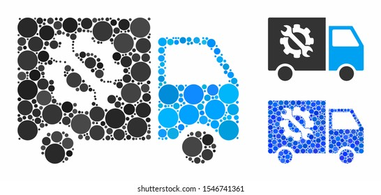 Equipment truck mosaic of circle elements in various sizes and color tinges, based on equipment truck icon. Vector round elements are grouped into blue mosaic.