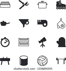 equipment vector icon set such as: outdoor, gymnasium, clock, spring, time, bottleneck, stopwatch, skates, frying, observe, stack, sphere, stainless, boot, San Francisco, cartoon, scissors, file