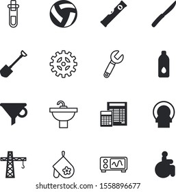 equipment vector icon set such as: bottleneck, bakery, accessibility, agricultural, accounting, pharmacy, diagnostic, disabled, advertisement, voice, wrench, x-ray, filter, screen, thirst, breakfast