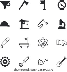 equipment vector icon set such as: hard, mitten, bin, cut, bottleneck, topography, conservation, pennant, police, tower, shadow, mixing, success, travel, garden, hat, ribbon, summer, yellow, mask