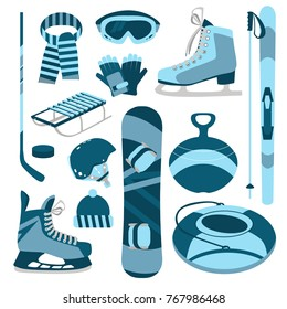 Equipment for winter sports and entertainment. Vector set of design elements. Skiing, figure skating, hockey skates, sleds, goggles, gloves, helmet, hat, scarf, hockey stick, puck, snowboard.