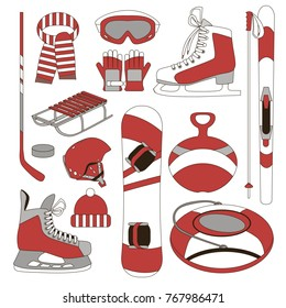 Equipment for winter sports and entertainment. Vector set of design elements. Skis, skates, sleds, goggles, gloves, helmet, hat, scarf, hockey stick, puck, snowboarding.