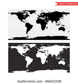 Equirectangular world map projection. Black and white world map vector illustration.