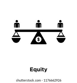 Equity icon vector isolated on white background, logo concept of Equity sign on transparent background, filled black symbol