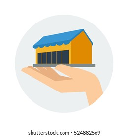Equity shop building in hand vector drawing illustration