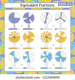 Equivalent Fractions Mathematical Worksheet. Circles. Math Puzzle. Educational Game. Vector illustration.