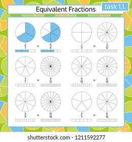Equivalent Fractions Mathematical Worksheet. Coloring Book Page. Math Puzzle. Educational Game. Vector illustration.