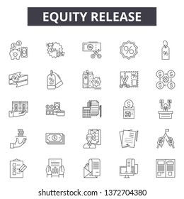 Eququity release line icons, signs, vector set, outline illustration concept