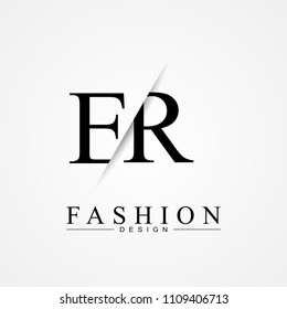 ER E R cutting and linked letter logo icon with paper cut in the middle. Creative monogram logo design. Fashion icon design template.