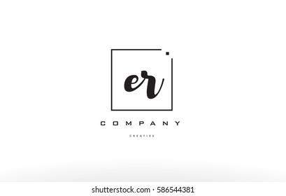 er e r hand writing written black white alphabet company letter logo square background small lowercase design creative vector icon template