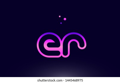 er e r pink blue alphabet letter combination logo design suitable for a company or business