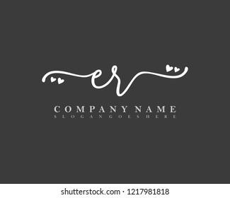 ER Initial handwriting logo vector