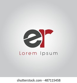 er initial letter linked lowercase logo. e and r vector template design.