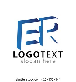 ER initial letter with negative space logo icon vector template