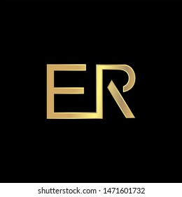 ER Initial logo Capital Letters Gold colors
