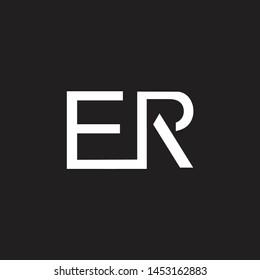 ER intial logo Capital Letters black background