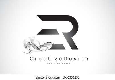 ER Letter Logo Design with Black Smoke. Creative Modern Smoke Letters Vector Icon Logo Illustration.