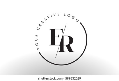 ER Letter Logo Design with Creative Intersected and Cutted Serif Font.