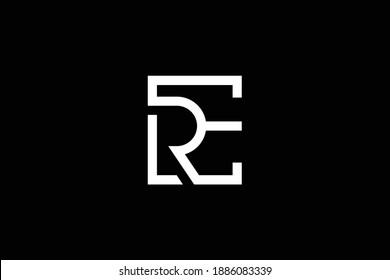ER letter logo design on luxury background. RE monogram initials letter logo concept. ER icon design. RE elegant and Professional white color letter icon design on black background.