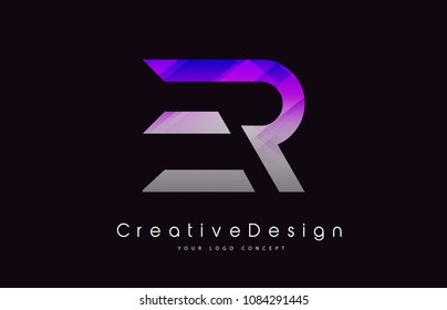 ER Letter Logo Design in Purple Texture Colors. Creative Modern Letters Vector Icon Logo Illustration.