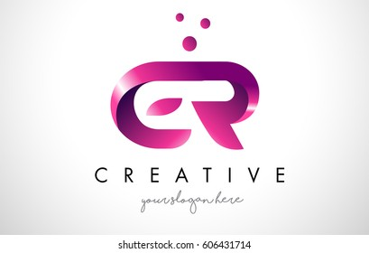 ER Letter Logo Design Template with Purple Colors and Dots