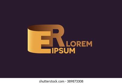 ER letters logo, E and R letters logo alphabet design.