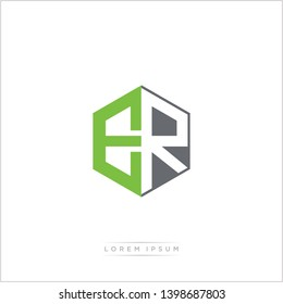 ER Logo Initial Monogram Negative Space Design Template With Green and Grey Color - Vector EPS 10