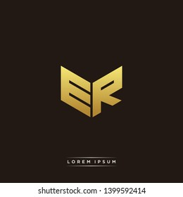ER Logo Letter Initial Logo Designs Templete with Gold and Black Background