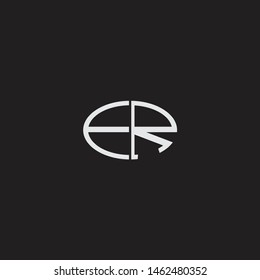 ER Logo letter oval monogram design template with black and white colors
