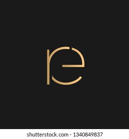 re or er logo vector. Initial letter logo, golden text on black background