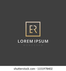 ER. Monogram of Two letters E & R. Luxury, simple, stylish and elegant ER logo design. Vector illustration template.