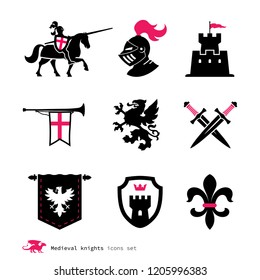 Era of chivalry icons. Attributes of the Middle Ages