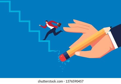 Erase, hand holding eraser off businessman up stairs