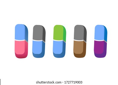 Eraser flat color full icon. Eraser vector illustration. eraser icon vector template, Rubber eraser vector isolated on white background.