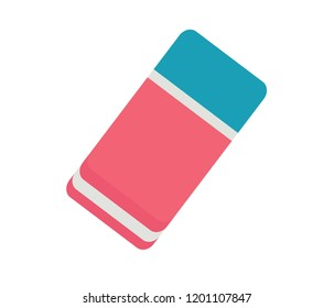 eraser, icon, flat, vector, isolated, rubber, background, white, color, design, education, school, colorful, illustration, object, nobody, drawing, office, equipment, change, erase, element, line, web