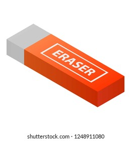 Eraser icon. Isometric of eraser vector icon for web design isolated on white background