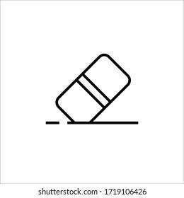 eraser icon vector outline design. isolated on white background