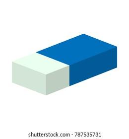 eraser or rubber in blue paper