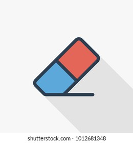 Eraser thin line flat color icon. Linear vector illustration. Pictogram isolated on white background. Colorful long shadow design.