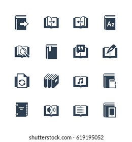 Ereader interface related vector icon set