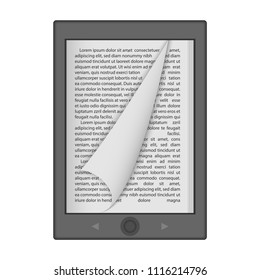 Ereader mockup. Realistic illustration of ereader vector mockup for web design isolated on white background