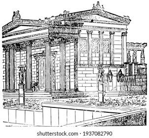 Erechtheum restored, building of the new Erechtheum, vintage engraving.