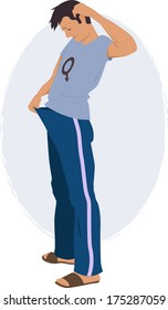 Erectile dysfunction. Upset man with a male symbol on his tee shirt  looking down his pants, vector illustration