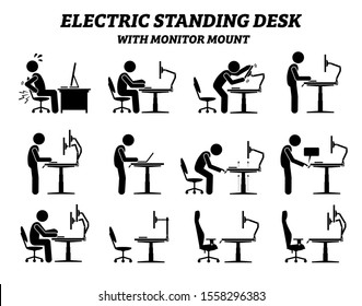 Ergonomic electric standing desk table with monitor mount. Stick figure pictogram icons depict man or a person using standing desk with adjustable height for office work at his computer workstation.