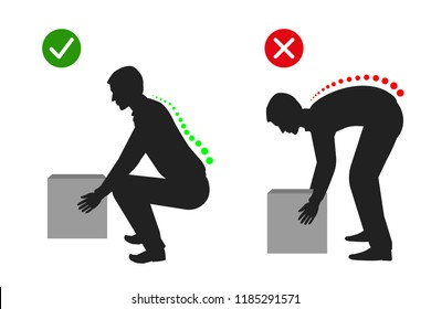 Ergonomics - Silhouette of correct posture to lift