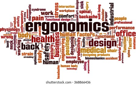 Ergonomics word cloud concept. Vector illustration