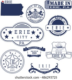 Erie city, Pennsylvania. Set of generic stamps and signs.