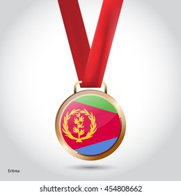 Eritrea Flag in Bronze Medal. Olympic Game Bronze Medal. Vector Illustration