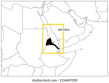 Eritrea map yellow frame geography national